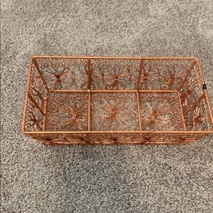 NWT rose gold wire basket
